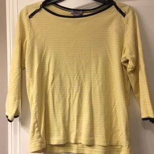 Laura Scott yellow and navy blue 3/4 sleeves top